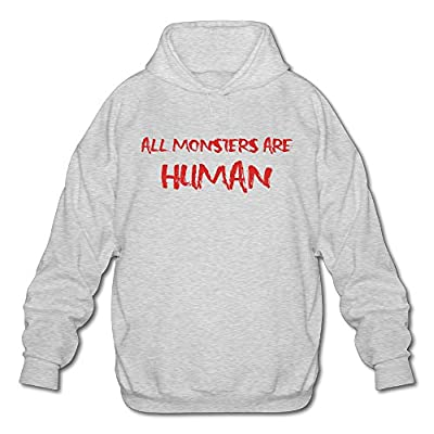 XJBD Men's All Monsters Are Human Hoodies Ash