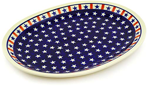 Polish Pottery 13¼-inch Platter (Americana Theme) + Certificate of Authenticity