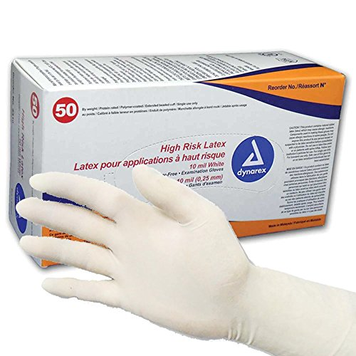 Dynarex High Risk Latex Exam Gloves, White 10 Mil, (10 Boxes of 50) (Large- 500/Case) by Dynarex