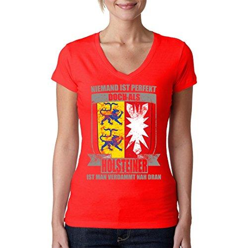 Fun Sprüche Girlie V-Neck Shirt - Wappen Shirt Perfekter Holsteiner by Im-Shirt Rot sW5hSs7F