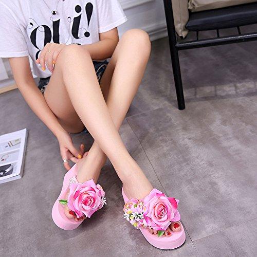 Flor Sandalias Mujer Zanpa pink 2 Zapatos Verano Slides IqSIxzC8w