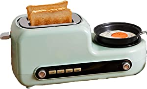 5 in 1 Toaster with Egg Boiler and Poacher – 2 Slice Toaster with Mini Frying Pan, Steamer Tray, Warming Rack – 7 Modes of Browning Control