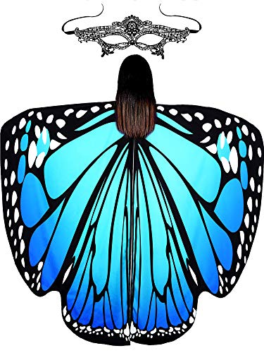 Halloween Soft Fabric Butterfly Wings Shawl Fairy Ladies Cloak with Mask(Color D, Adult D)