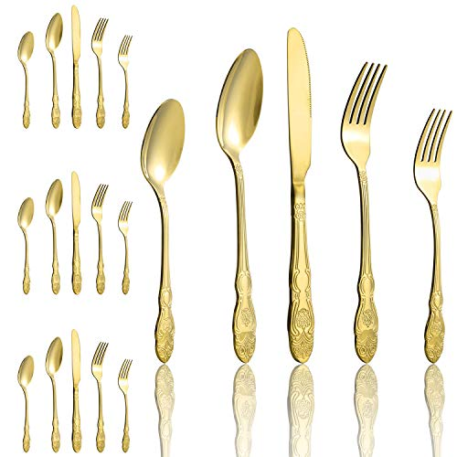20-Piece Gold Flatware Silverware Stainless Steel Cutlery Set Service for 4, Ideal for Home Wedding Christmas Thanksgiving Festival Party Gift