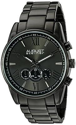August Steiner Men's AS8163BK Black Chronograph Quartz Watch with Dark Gray Dial and Black Bracelet