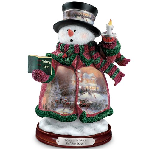 Thomas Kinkade Holiday Lights Snowman Figurine by The Bradford Editions
