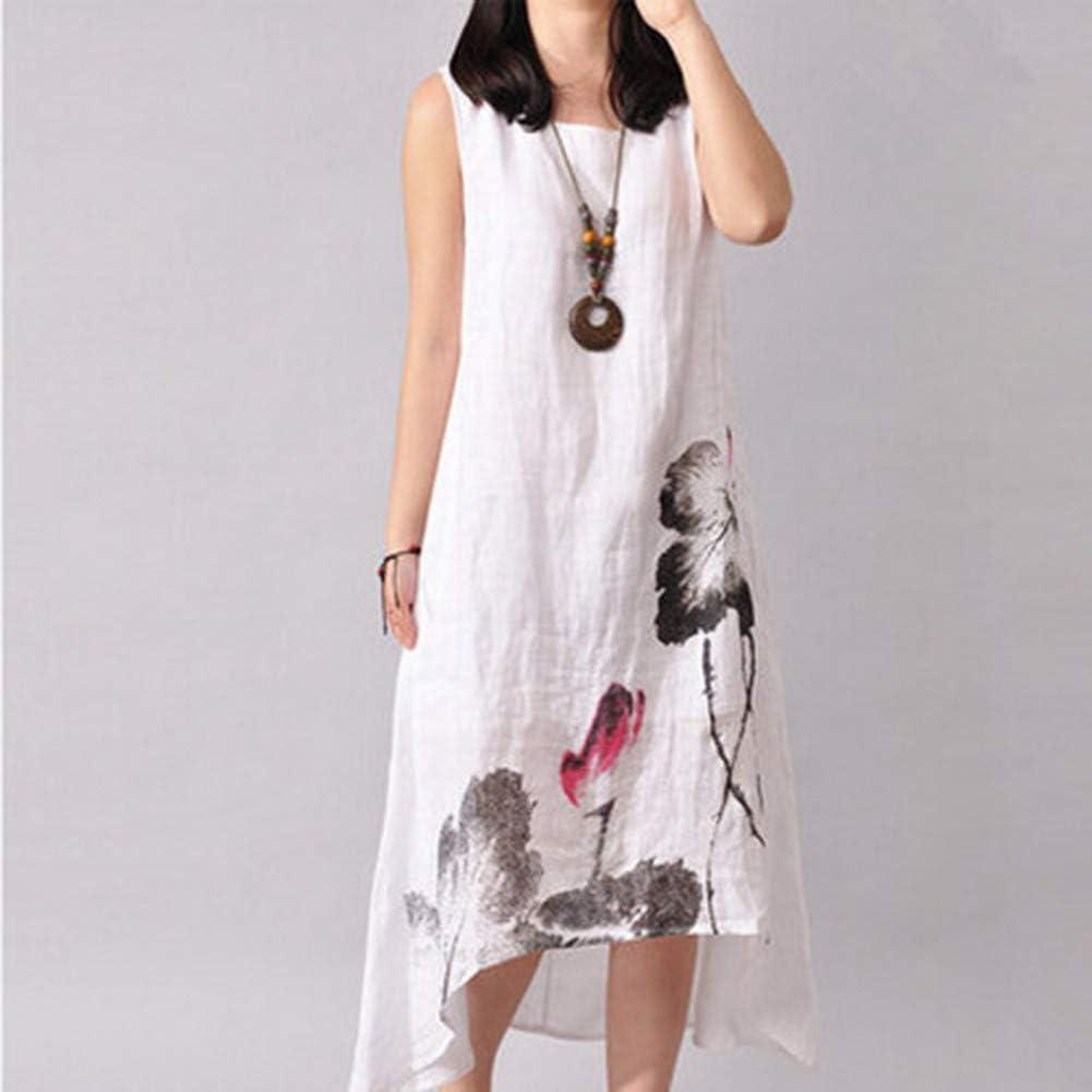 DAIDAILYQ Vestido De Las Mujeres Impreso Kleid Vintage Floral Kaftan Asimétrico Una Línea De Ropa Larga