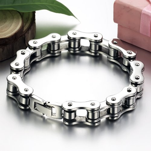 Give Gift Heavy Metal Stainless Steel Men's Bike Chain Bracelet Silver Tone 12mm 8.07inch