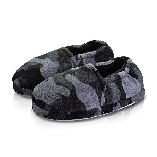 LA PLAGE Boy/Little Kid Winter Warm Cozy Camouflage Grey Comfy Plush Indoor Slip-on Slippers with Hard Sole