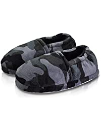 Boy/Little Kid Winter Warm Cozy Camouflage Grey Comfy Plush Indoor Slip-on Slippers with Hard Sole