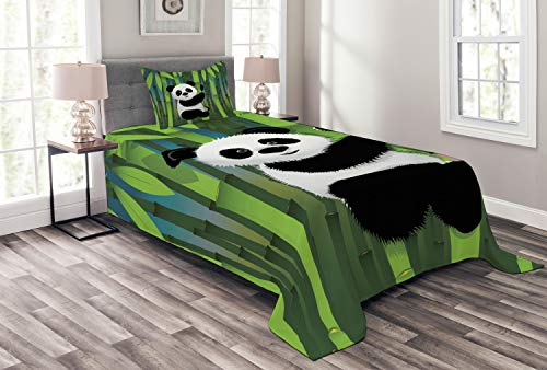Lunarable Cartoon Bedspread Set Twin Size, Curious Baby Panda on Stem The Bamboo Bear Jungle Wood Illustration, Decorative Quilted 2 Piece Coverlet Set Pillow Sham, Green Black]()