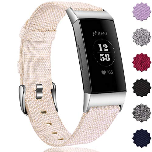 Maledan Bands Compatible with Charge 4/ Charge 3/ Charge 3 SE, Durable Woven Fabric Watch Band Replacement Accessories Strap Wristband for Women Men, Large, Beige