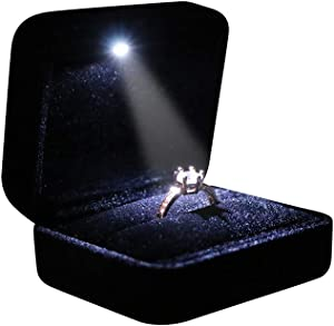 Omeet Velvet Metal Glossy with LED Jewelry Gift Box for Proposal, Engagement, Wedding - Easy to fit into Your Pocket or Handbag