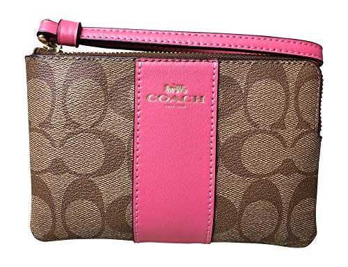 Coach Signature PVC and Leather Corner Zip Wristlet (Khaki Pink Ruby)