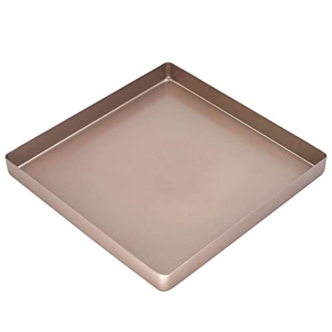 SHANGPEIXUAN 11 inch Square Baking Pan Non Stick Aluminum Alloy Rectangular Cake Pans for Oven Bakeware Pizza Pan DIY Cookie Sheets Cake Tray Gold