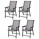 Giantex 4-Pack Patio Folding Chairs Portable for Outdoor Camping, Beach, Deck Dining Chair w/Armrest, Grey