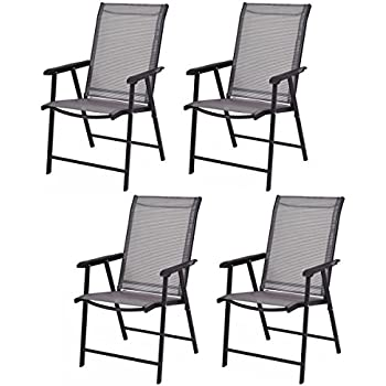 Giantex 4 Pack Patio Folding Chairs Portable For Outdoor Camping, Beach,  Deck Dining