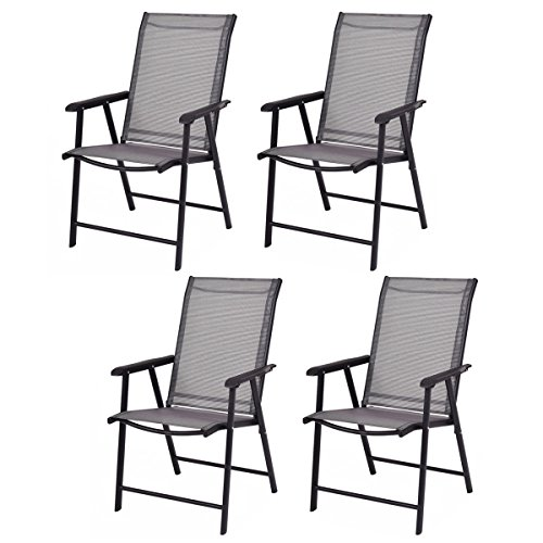 (Giantex 4-Pack Patio Folding Chairs Portable for Outdoor Camping, Beach, Deck Dining Chair w/Armrest, Patio Chairs Set of 4, Grey)