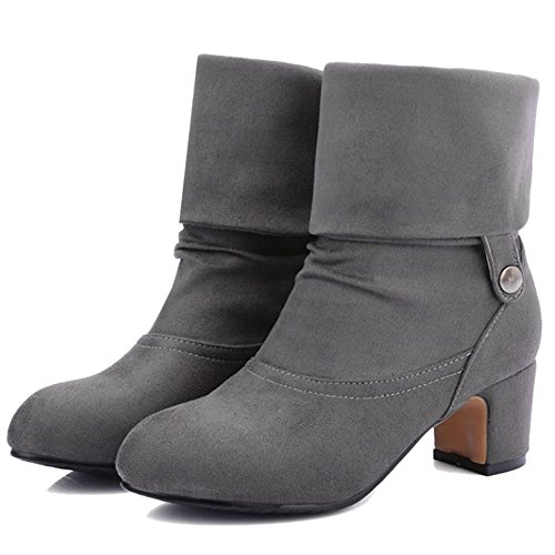 Gray Mid Heels Shoes Ankle Boots Bootie Block Women's COOLCEPT THqBF4wSfS