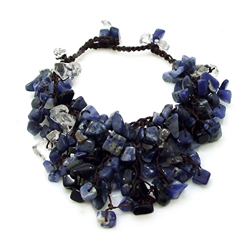 AeraVida Cluster Dangle Blue Sodalite Cotton Wax Rope Toggle Bracelet