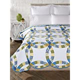 "Donna Sharp Arcadia Wedding Ring Full/Queen Quilt, 96"" x 96"", Blue/White/Yellow/Green"