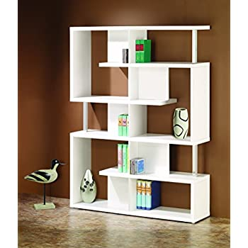 Coaster Home Furnishings  Modern Contemporary Five Tier Double Bookcase Storage Shelf with Chrome Details - Black