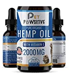 Pet Pawsitive - Hemp Oil Dogs Cats - 2000mg - Separation Anxiety, Joint Pain, Stress Relief, Arthritis, Seizures, Chronic Pains, Anti-Inflammatory - Omega 3, 6, & 9- 100% Organic - Calming Drops