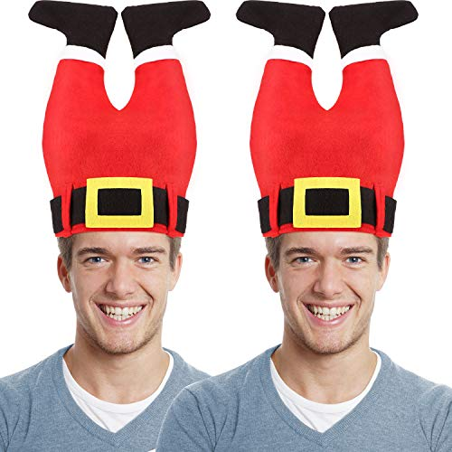 Crazy Santa Costumes (2 Pieces Santa Pants Hat Funny Hat Novelty Santa Christmas Hat Crazy Santa Pants Hat for Christmas Accessories Party)