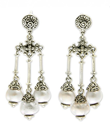 (NOVICA White Cultured Freshwater Pearl .925 Sterling Silver Chandelier Earrings, Trinity in White')