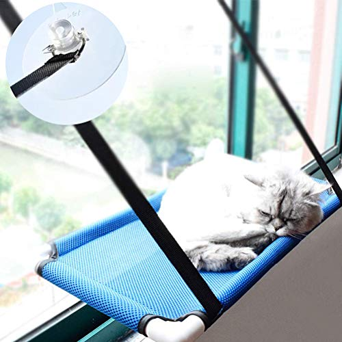 Lightton Cat Window Perches,cat Hammock Pet Save Space,Mounted Cat Bed Sunny Seat Window Safety Cat Bed with 4 Heavy Duty Suction Cups 30 Lbs,One Year Guarantee (Blue B) ()