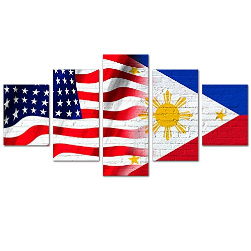 GreatHomeArt American and Philippines Flag Canvas Painting Wall Art for Bedroom Decor 5 Pieces Giclee Prints Pictures Framed and Stretched Ready to Hang-100x55cm
