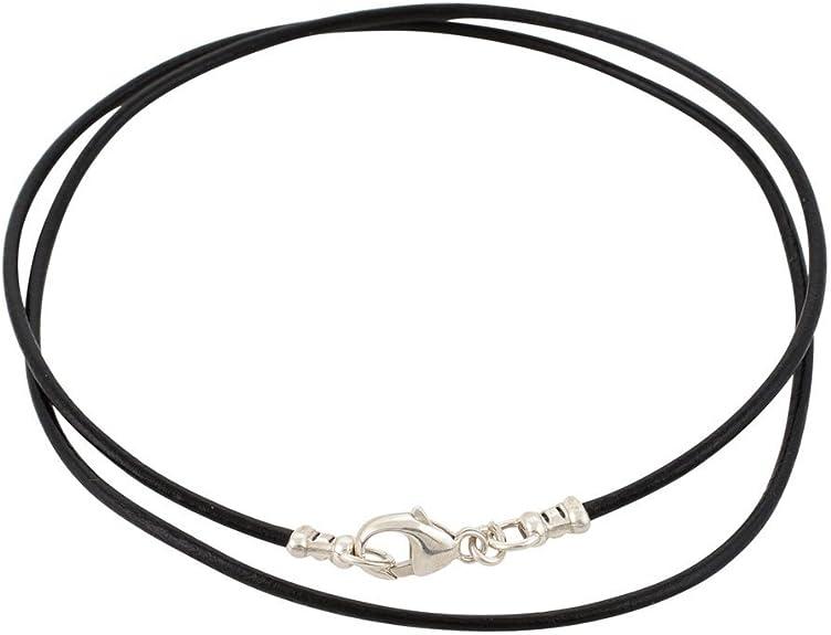 DragonWeave Plata de Ley 1,8 mm Fino Collar de cordón de Cuero Negro: Amazon.es: Joyería