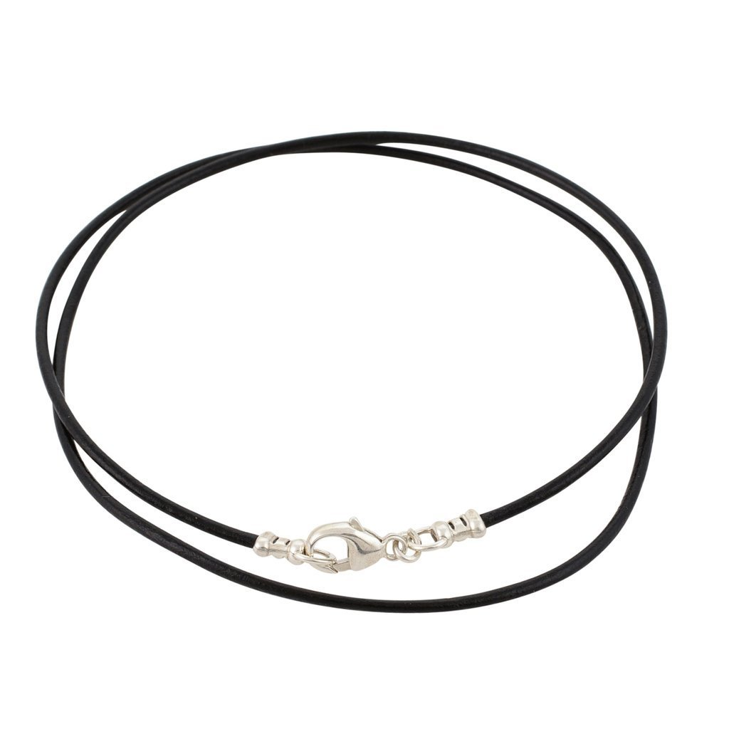 Sterling Silver 1.8mm Fine Black Leather Cord Necklace - 26 inches