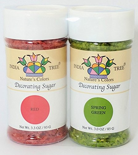 India Tree All Natural Nature's Colors Decorating Sugars – Christmas – 3.3 Ounce Bottles