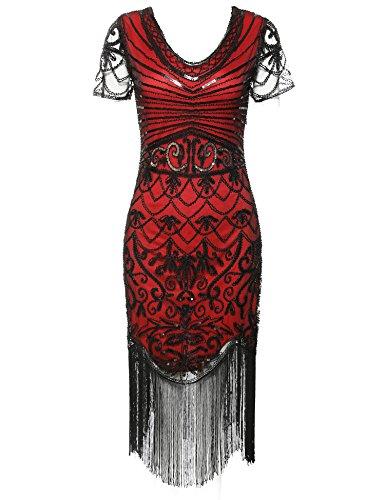 1920s Flapper Dress Vintage V Neck Sequin Fringe Cocktail Gatsby Dresses (Red Short Sleeve, L)