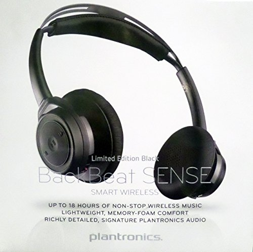 Plantronics Backbeat Sense SE - Special Edition Bluetooth Wireless Headphones - Limited Edition Black on Black (208240-01) (Certified Refurbished)