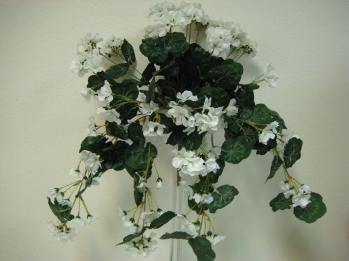 "CREAM Geranium Hanging Bush 24"" Artificial Silk Flowers"
