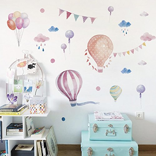 Colourful Hot Air Balloons Flag Rain Wall Decals Peel and Stick Removable Wall Stickers Kids Room Wall Decorations (A Balloon)