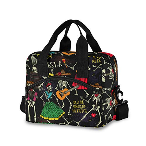 InterestPrint Carry-on Garment Bag Travel Bag Duffel Bag Weekend Bag Day of the Dead and Halloween Cats and Colorful Flowers