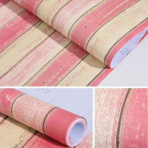 11.8 X 118Wood Contact Paper Peel Stick Wallpaper Pink Self-Adhesive Decorative Wallpaper Décor Wall Counters Cabinets Shelf Liner Cabinets Furniture Distressed Peel Stick Wallpaper Lucky Color