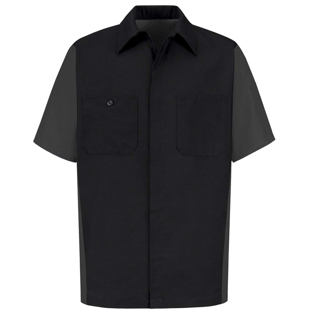 Red Kap Small Black And Charcoal 4.25 Ounce Polyester/Cotton Shirt With Button Closure