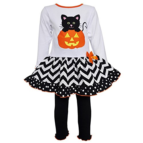 AnnLoren Big Girls Black Cat Pumpkin Halloween Leggings Outfit 9-10 ()