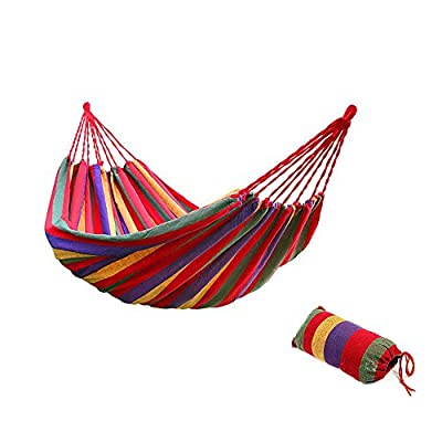 Bartonisen Camping Hammocks Garden Hammock Cotton Fabric Canvas Parachute Hammock for Camping Travel Yard (red) - ➣ ULTIMATE COMFORT HIGH-STRENGTH CAMPING HAMMOCK--- Adopt a special high-density breathable canvas fabric as material,the soft silky tactility with the lightweight appropriate size. ➣ HIGH QUALITY SUPER STRONG GARDEN HAMMOCK--- Comfortably Supporting Up To 264 lbs, the rope joint is specially weaved according to physics rules in order every string stand the same weight and the hammock is strong enough. ➣ EASY FIXING TRAVEL HAMMOCK--- Just fix the hammock with 2 binding strings and tie the strings to trees or poles. Easy to carry and pack with the same color sack. - patio-furniture, patio, hammocks - 51QILHDa%2BfL. SS400  -