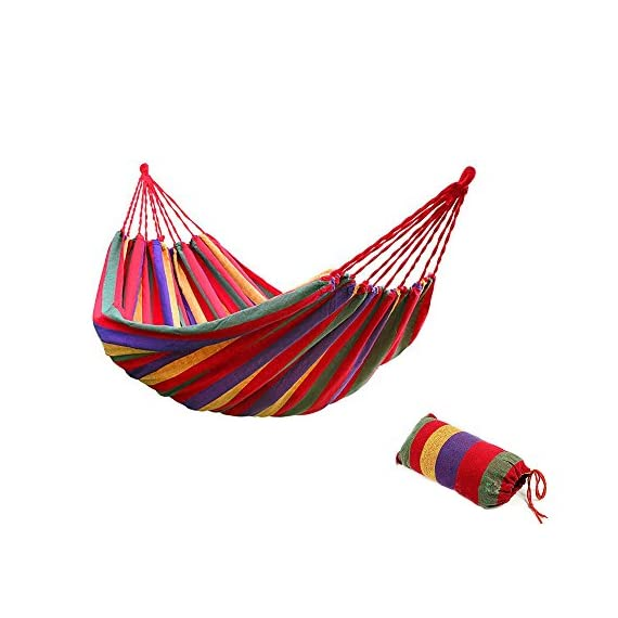 Bartonisen Camping Hammocks Garden Hammock Cotton Fabric Canvas Parachute Hammock for Camping Travel Yard (red) - ➣ ULTIMATE COMFORT HIGH-STRENGTH CAMPING HAMMOCK--- Adopt a special high-density breathable canvas fabric as material,the soft silky tactility with the lightweight appropriate size. ➣ HIGH QUALITY SUPER STRONG GARDEN HAMMOCK--- Comfortably Supporting Up To 264 lbs, the rope joint is specially weaved according to physics rules in order every string stand the same weight and the hammock is strong enough. ➣ EASY FIXING TRAVEL HAMMOCK--- Just fix the hammock with 2 binding strings and tie the strings to trees or poles. Easy to carry and pack with the same color sack. - patio-furniture, patio, hammocks - 51QILHDa%2BfL. SS570  -
