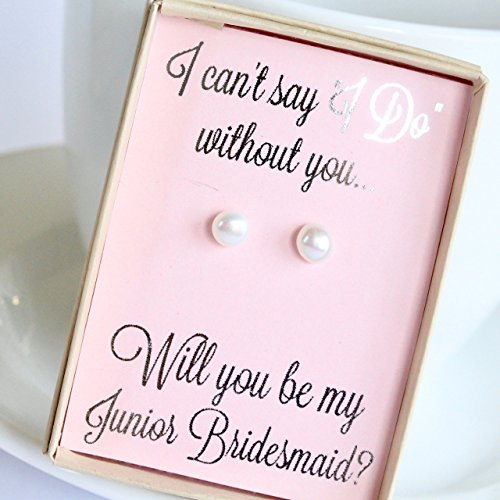 Pink Junior Bridesmaid in Wedding Pearl Earring Set with Silver Foil Writing Gift