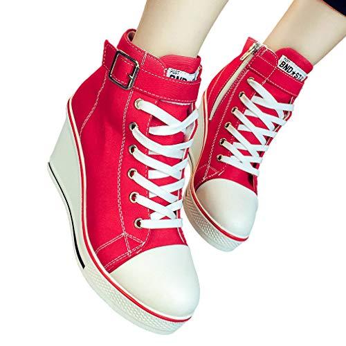 Casual Toile En Sneakers Lacets Respirant Chaussure À Femmes Talon Platform Mode Rouge Compensées Et Pour Glissière Baskets Chic Latérale Haut Cheville wBqE1W