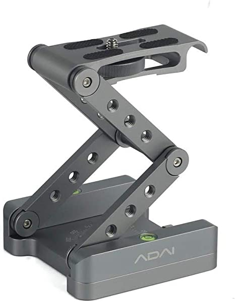 Geestock Z Flex Tilt Tripod Head Aluminum Alloy Folding Z Tilt Head Quick Release Plate Stand Holder for DSLR Compatible Slide Rail Camera Camcorder Tripod