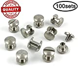 Lausatek Chicago Binding Screws Sex Bolt Barrel nut Barrel Bolt Post Screw Slotted/Minus Head, Suitable for All Kind of Art and Leather, Made of Stainless Steel Never Rust, Length 1/4