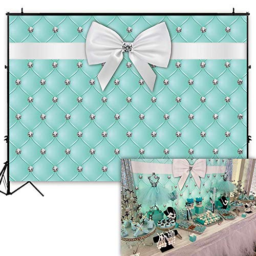 Funnytree 7X5ft Soft Fabric Diamonds Bowknot Co Blue Tufted Backdrop Breakfast Sweet 16 Birthday Party Photography Background Bridal Shower Adults Cake Table Banner Baby Girl Photo Booth]()