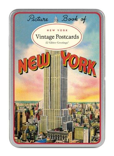 Cavallini Vintage New York Glitter Greetings, 12 Assorted Postcards